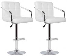 Pair of 2 Milan White Faux Leather Padded Seat Bar Stools  With Arms 1/2 Price Deal